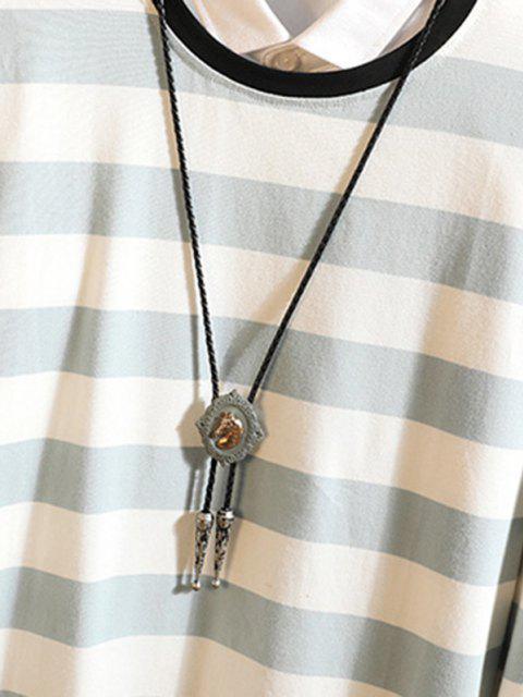 Langärmliges T-Shirt mit Streifen - Hellblau 3XL Mobile