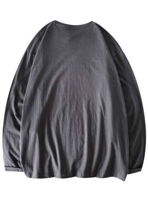 T-Shirt Casuale con Motivo di Orso e Maniche Lunghe - Grigio Scuro M Mobile