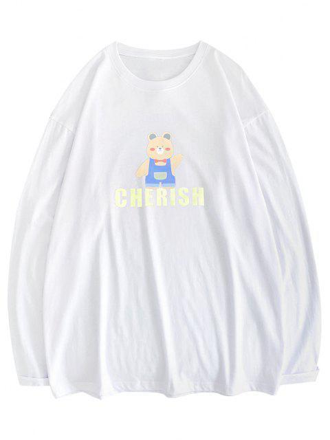chic Bear Cherish Pattern Long Sleeve T-shirt - WHITE XL Mobile