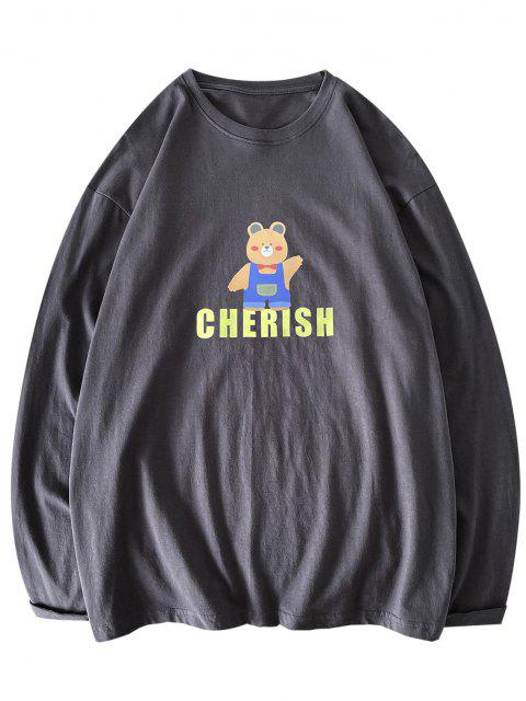 latest Bear Cherish Pattern Long Sleeve T-shirt - DARK GRAY 2XL Mobile