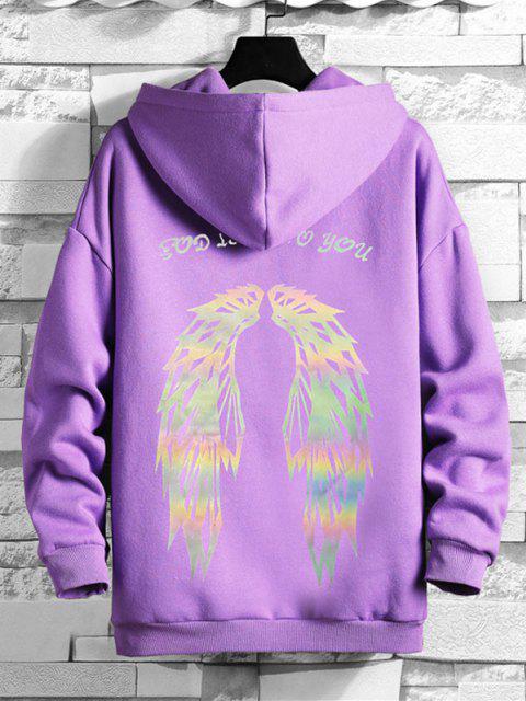 fashion Luminescent Wings Letter Pattern Drop Shoulder Fleece Hoodie - PURPLE L Mobile