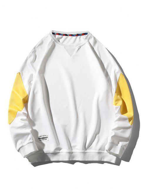 online Raglan Sleeve Letter Applique Contrast Sweatshirt - WHITE XL Mobile