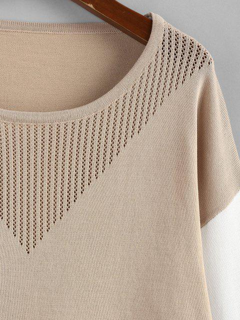 ZAFUL Camisola de Openwork Bloco de Cores - Café Light M Mobile