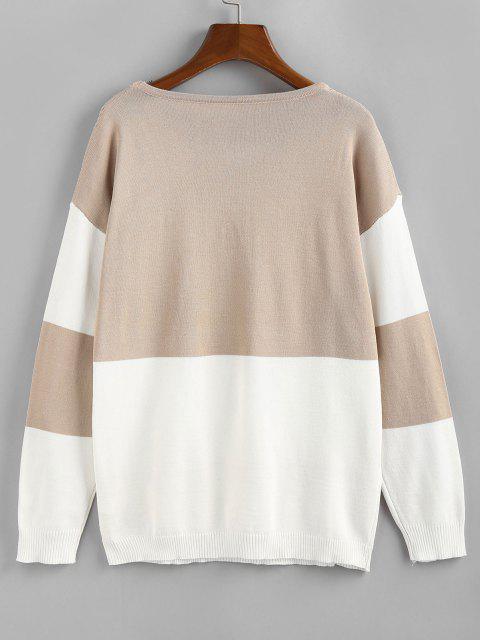 unique ZAFUL Openwork Colorblock Sweater - LIGHT COFFEE S Mobile