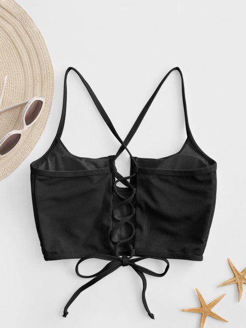 ZAFUL U-bar Ribbed Crisscross Lace-up Bikini Top - أسود S Mobile