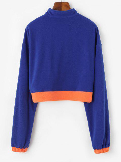best Half Zip Colorblock Fleece Crop Sweatshirt - BLUE M Mobile