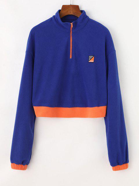 outfits Half Zip Colorblock Fleece Crop Sweatshirt - BLUE S Mobile