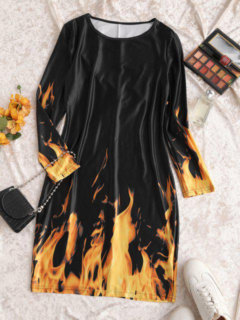 fancy Long Sleeve Hot Flame Print Mini Dress - BLACK S Mobile