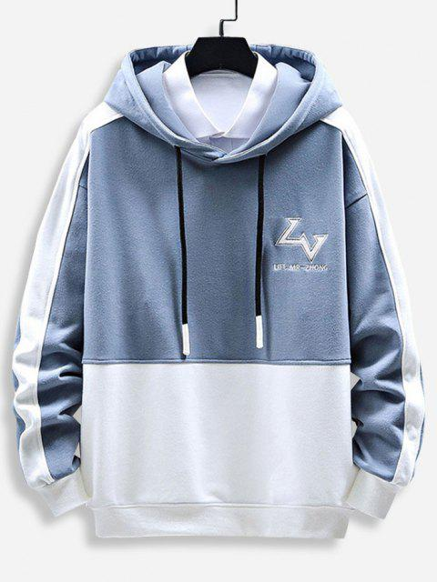 best Letter Print Graphic Embroidered Contrast Hoodie - LIGHT BLUE 2XL Mobile