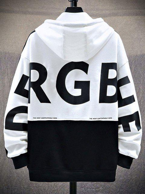 best Letter Print Graphic Embroidered Contrast Hoodie - WHITE 2XL Mobile