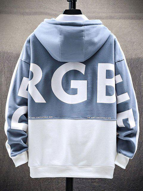 trendy Letter Print Graphic Embroidered Contrast Hoodie - LIGHT BLUE 3XL Mobile