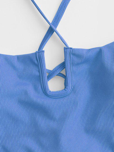 Bikini a Costine con Lacci di ZAFUL - Blu M Mobile