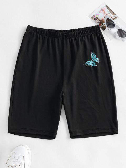 ZAFUL Shorts de Cintura Alta con Estampado de Mariposa - Negro M Mobile
