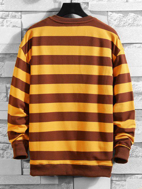 hot Cat Applique Striped Pocket Sweatshirt - YELLOW S Mobile