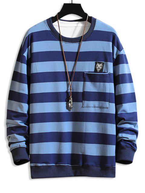 trendy Cat Applique Striped Pocket Sweatshirt - BLUE M Mobile