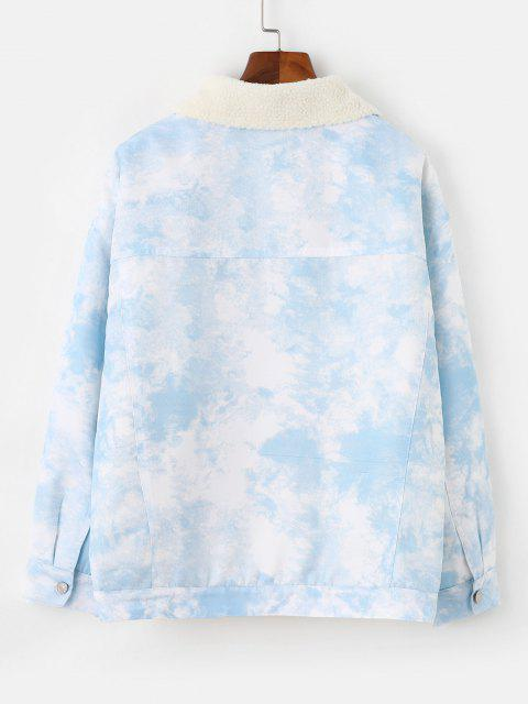 Faux Shearling Lining Tie Dye Pocket Coat - أزرق فاتح L Mobile