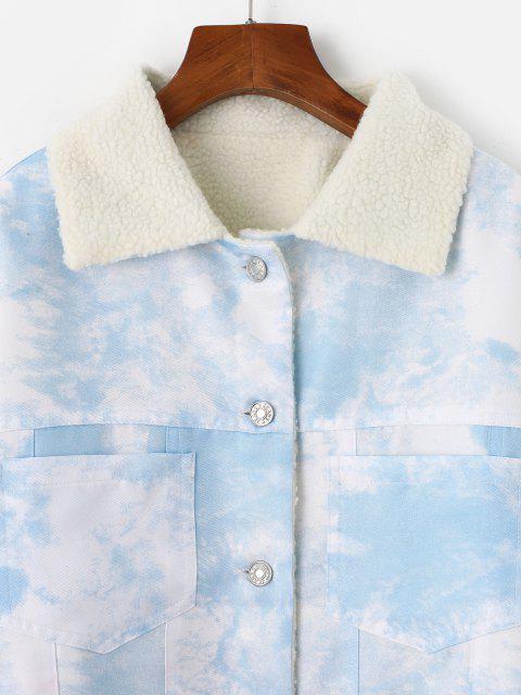 Künstliche Lammfell Futter Krawattenfärbender Tasche Mantel - Hellblau L Mobile