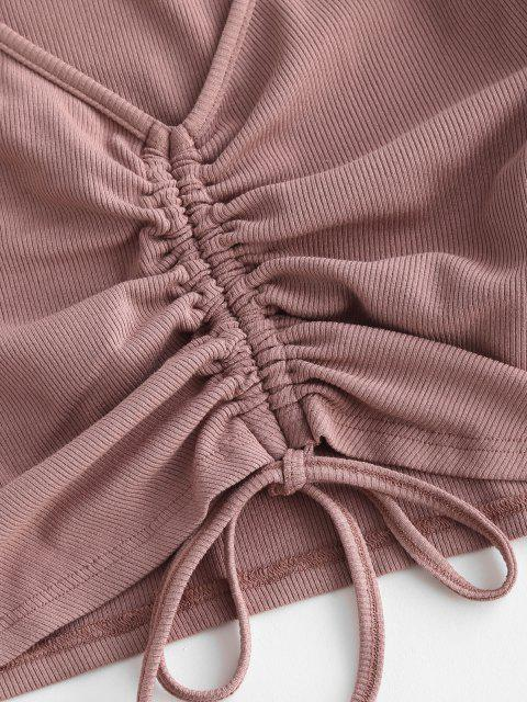ZAFUL Mini Robe Sanglée Côtelée Deux Pièces - Rose Kaki L Mobile