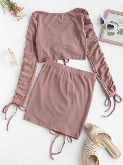best ZAFUL Ribbed Cinched Two Piece Mini Dress - KHAKI ROSE M Mobile