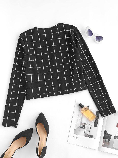 ZAFUL Grid Crop Jacket - أسود XL Mobile