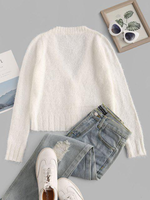 trendy Button Up V Neck Fuzzy Cardigan - WHITE S Mobile
