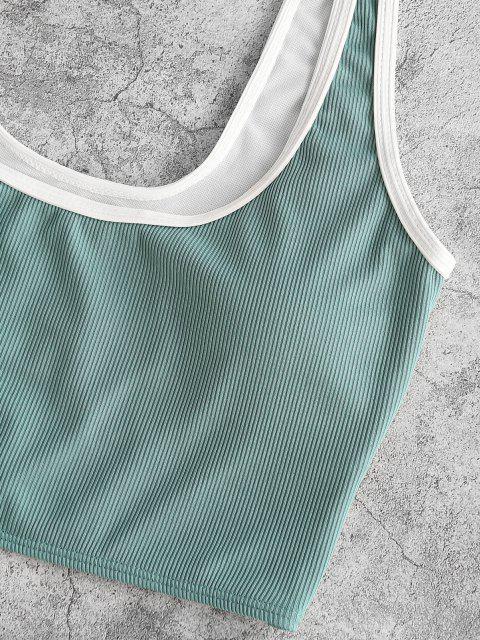 ZAFUL Maillot de Bain Tankini Côtelé avec Passepoil - Vert clair XL Mobile