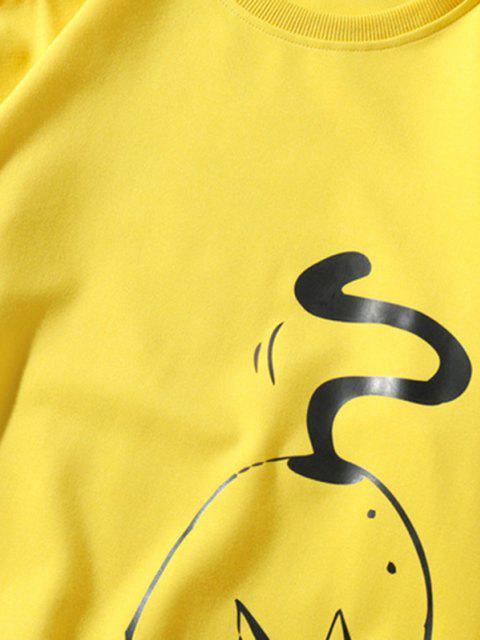 latest Funny Fat Cat Graphic Crew Neck Sweatshirt - YELLOW XL Mobile
