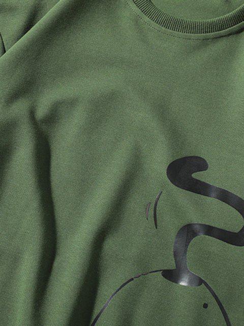 Lustiger Schelm Parodie Katzen Grafik Rundhalsausschnitt Sweatshirt - Grün XL Mobile