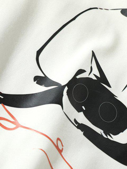 Sweat-shirt Graphique Chat Amusant à Col Rond - Blanc XS Mobile