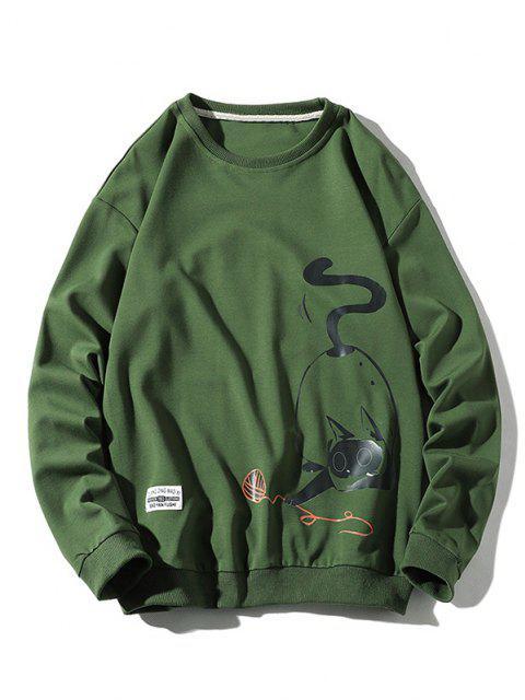 best Funny Fat Cat Graphic Crew Neck Sweatshirt - GREEN M Mobile