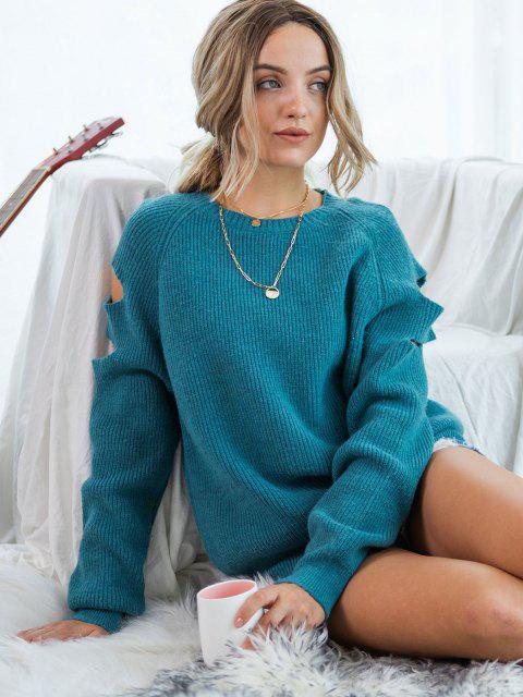 outfits Cutout Raglan Sleeve Jumper Sweater - DEEP BLUE M Mobile