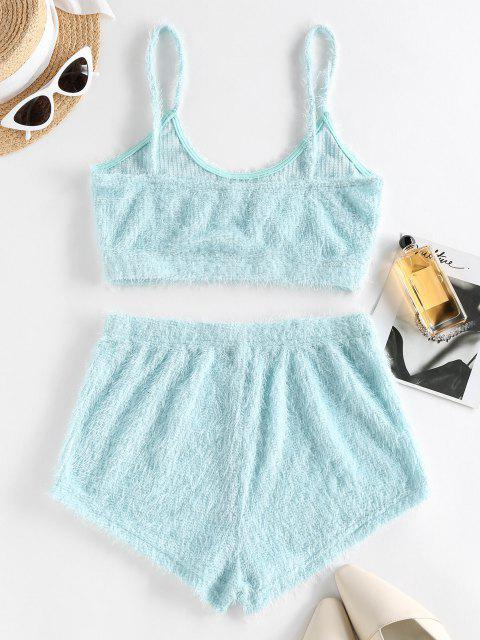 chic ZAFUL Plain Plush Shorts Set - LIGHT BLUE XL Mobile
