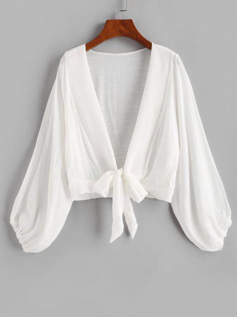womens Tie Knot Bishop Sleeve Cover Up Top - WHITE ONE SIZE Mobile