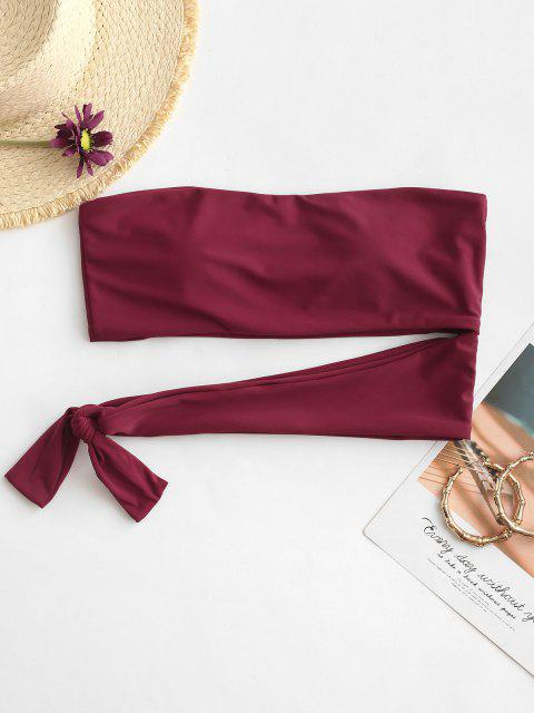 ZAFUL Knotted Cut Out Bandeau Bikini Top - أحمر عميق S Mobile