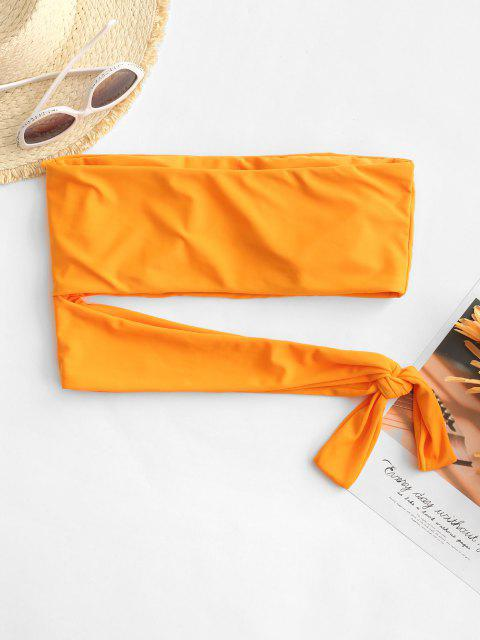 ZAFUL Knotted Cut Out Bandeau Bikini Top - برتقالي قاتم L Mobile