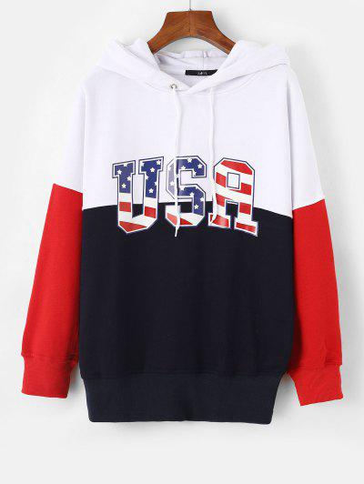 Drop Shoulder USA Graphic Colorblock Hoodie - Blue M
