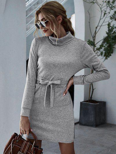 Turtleneck Front Pocket Fitted Jersey Dress - Gray L