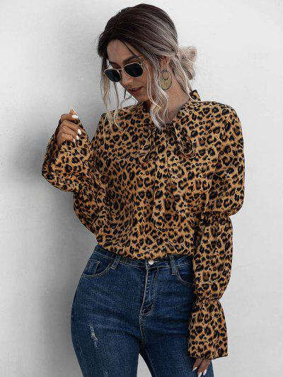 Leopard Bowtie Collar Ruffle Cuff Blouse - Multi S