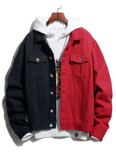 Button Up Double Pockets Two Tone Jean Jacket - Red M