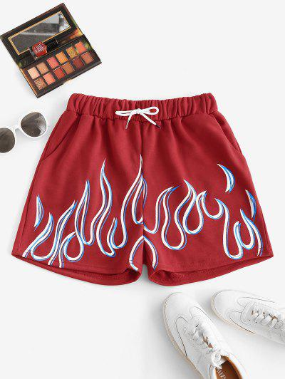 Flame Print Drawstring Pocket Sweat Shorts - Red M
