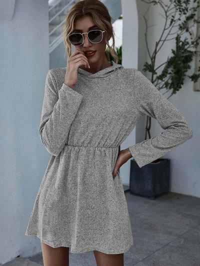Hooded Marled Knit Elastic Waist Dress - Gray S
