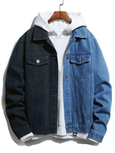 Button Up Double Pockets Contrast Jean Jacket - Blue Xl