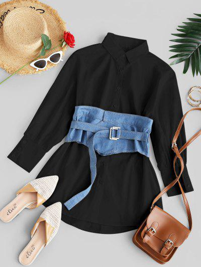 Button Up Mini Shirt Dress With Denim Corset - Black