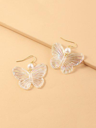 Faux Pearl Butterfly Drop Earrings - White