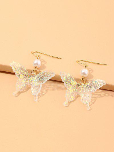 Sequined Butterfly Faux Pearl Dangle Earrings - Warm White