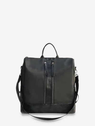 Large Capacity Multifunctional Leather Backpack - Black