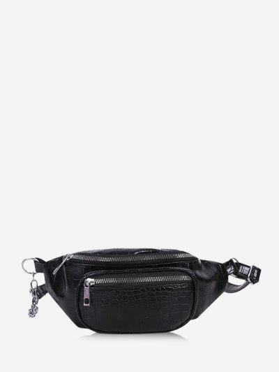 Textured Chest Crossbody Bag - Black