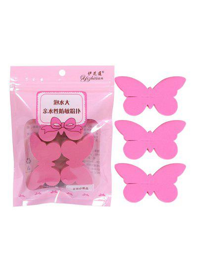 3Pcs Butterfly Dry And Wet Makeup Sponge Set - Watermelon Pink