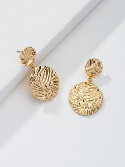 Textured Round Metal Drop Earrings - Golden