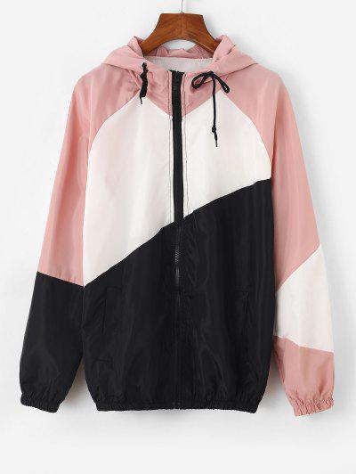 Raglan Sleeve Colorblock Hooded Windbreak Jacket - Light Pink S